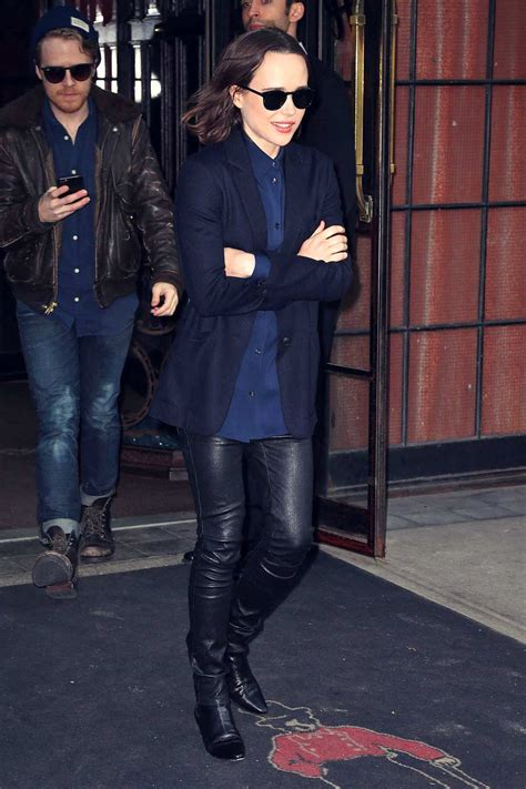Ellen Page is spotted outside The Bowery Hotel - Leather